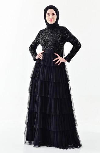 Sequin Detailed Evening Dress 52735-02 Black 52735-02