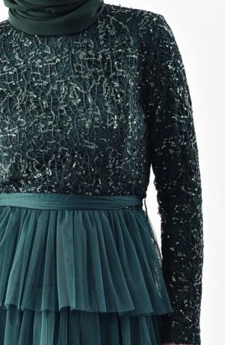 Robe de Soirée Détail Paillettes 52735-04 Vert 52735-04