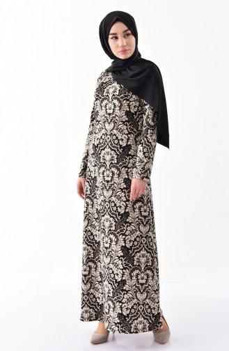 Dilber Decorated Printed Dress 6073-01 Black  6073-01