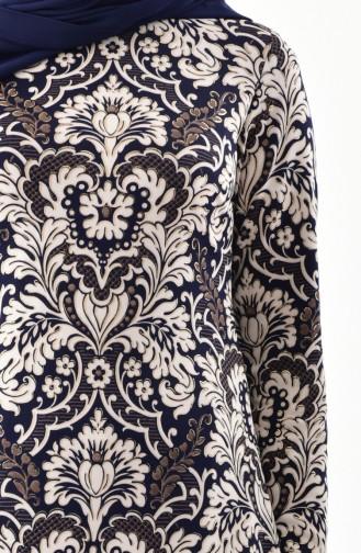 Varak Baskılı Elbise 6073-02 Lacivert