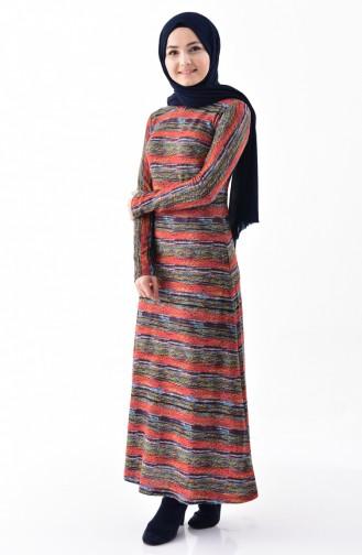 فستان محاك بتصميم مُطبع 33460-01 لون قرميدي 33460-01
