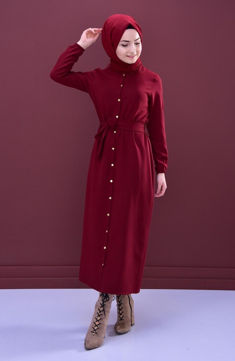 29226633064 Shirt Collar Dress 0003-01 Claret Red 0003-01