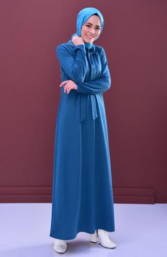 Collar Detail Dress 1031-01 Petrol 1031-01