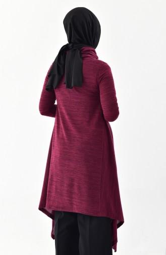 تونيك غير مُتماثل الطول بتصميم ياقة بولو 50359-02 لون ارجواني 50359-02