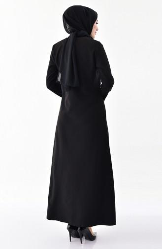 Fermuarlı Ferace 3046-06 Siyah
