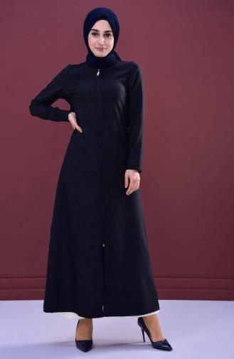 Abaya a Fermeture et Rayure 3047-01 Noir Vert emeraude 3047-01
