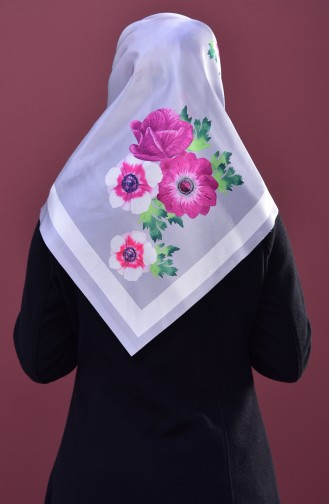 Echarpe Taffetas a Motifs Fleurs 95147-04 Gris 04