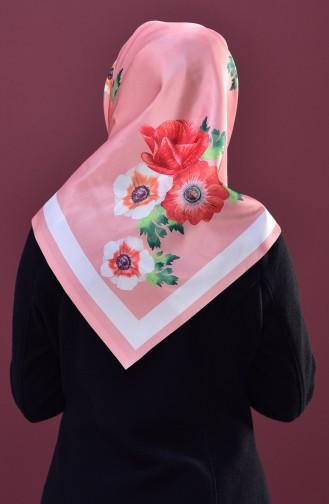 Blumen Gemustertes Kopftuch aus Taft 95147-05 Lachs 05