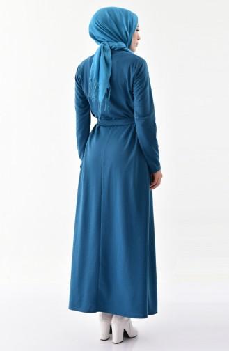فستان مزين بفيونكا 1032-01 لون بترولي 1032-01