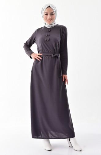 فستان مزين بفيونكا 1032-03 لون اسود مائل للرمادي 1032-03