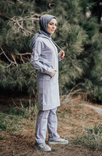 Hoodie Tracksuit Suit 18133-03 Gray Green 18133-03