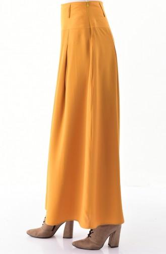 بنطال فيسكوز بتصميم قصة تنورة 8109-05 لون أصفر داكن 8109-05