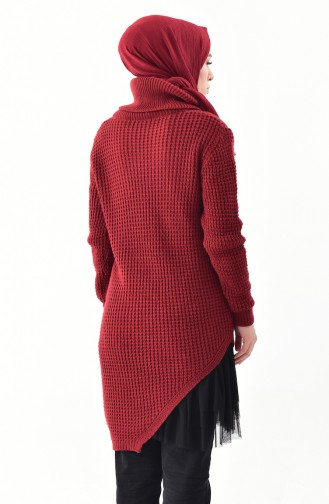 Polo-neck Knitwear Sweater 8011-01 Claret red 8011-01