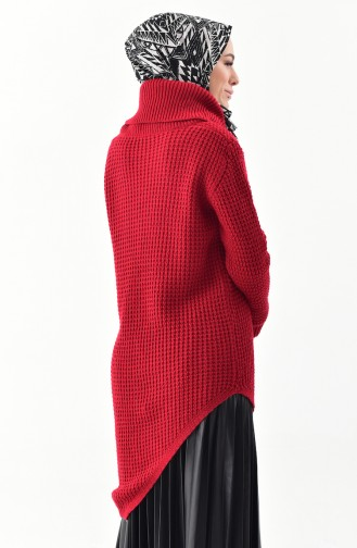 Polo-neck Knitwear Sweater 8011-02 Red 8011-02