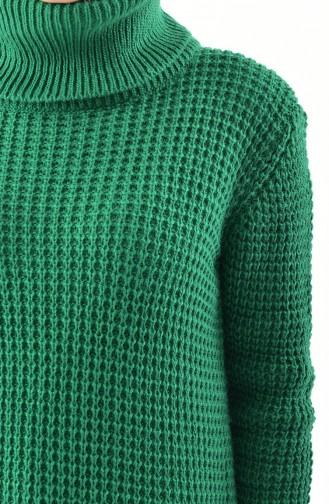 Balıkçı Yaka Triko Kazak 8011-03 Zümrüt Yeşil 8011-03