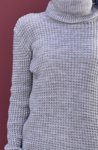 Polo-neck Knitwear Sweater 8011-04 Gray 8011-04