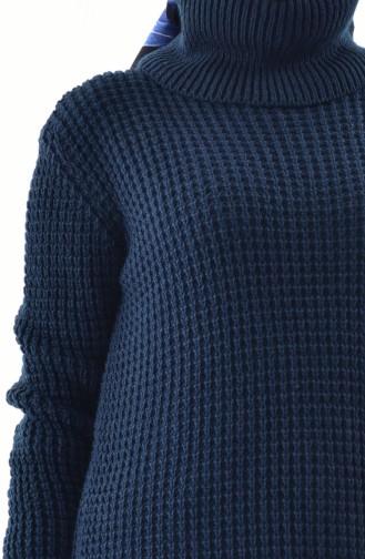 Polo-neck Knitwear Sweater 8011-08 Navy Blue 8011-08
