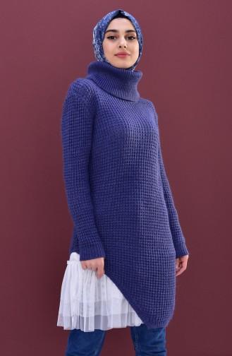 Polo-neck Knitwear Sweater 8011-10 Purple 8011-10