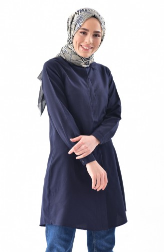 Navy Blue Overhemdblouse 0694-02