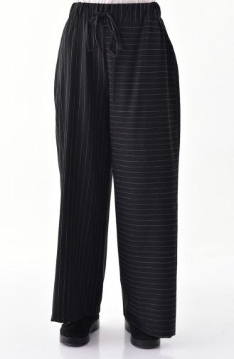 Çizgili Bol Paça Pantolon 1646-01 Siyah 1646-01