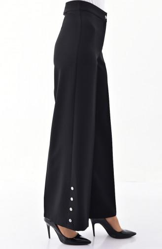Düğme Detaylı Bol Paça Pantolon 3129-01 Siyah