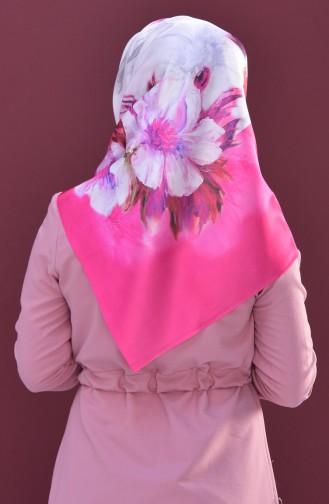Echarpe Taffetas a Motifs Fleurs 95167-07 Rose 07