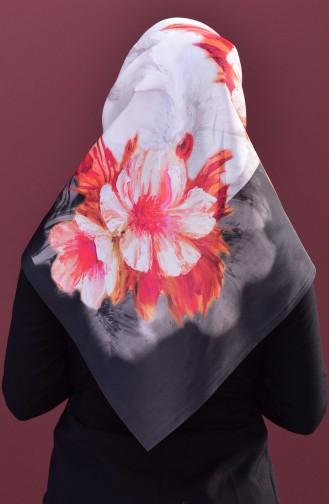 Çiçek Desenli Tafta Eşarp 95167-04 Siyah
