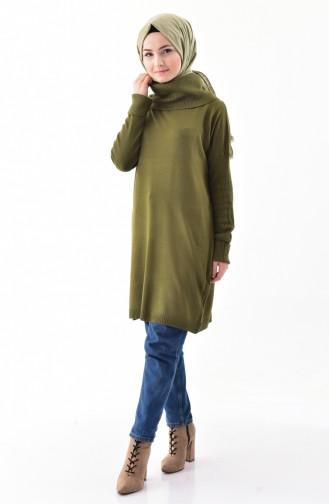 Knitwear Polo-neck Sweater 5162-02 Khaki 5162-02