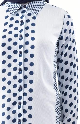 Puantiyeli Tunik 154061-01 Mavi