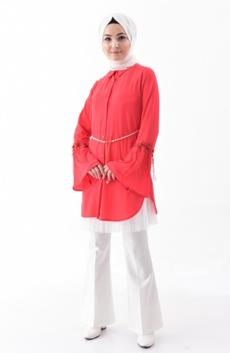 Lace Detailed Shirt 0311-01 Coral 0311-01