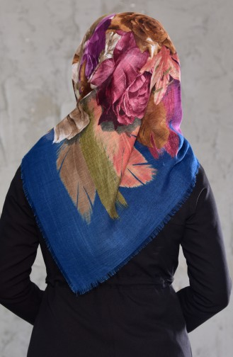 Flower Patterned Flamed Cotton Shawl 2168-05 Indigo 2168-05