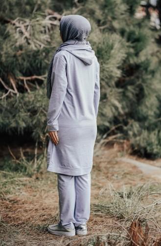 Hoodie Tracksuit Suit 18133-02 Grey Claret Red 18133-02
