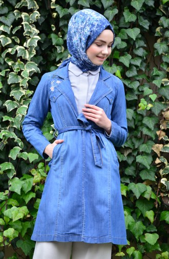 Belted Jeans Cape 6044-01 Blue Jeans 6044-01