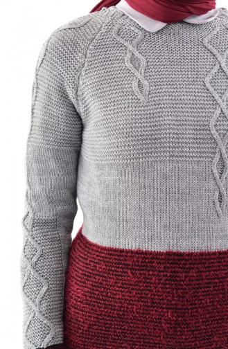 Knitwear Sweater 8501-03 Gray Claret Red 8501-03