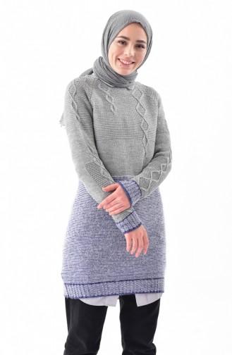 Knitwear Sweater 8501-05 Gray Navy Blue 8501-05