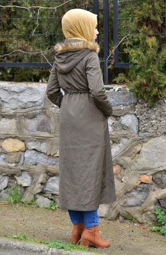 Astar Kürklü Fermuarlı Mont 6767-02 Haki 6767-02