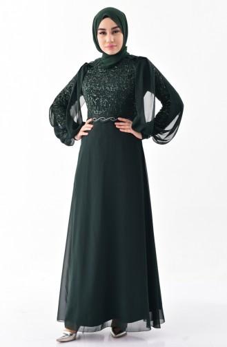 Pelerinli Abiye Elbise 52736-04 Yeşil