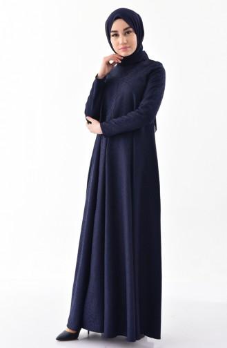 Jakarlı Elbise 3068-07 Lacivert 3068-07