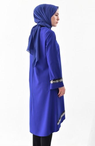 Tunique Asymétrique a Paillettes 5436-05 Bleu Roi 5436-05