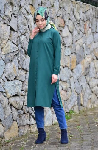 Minahill Slit Tunic 8209-08 Emerald Green 8209-08