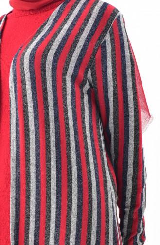 Striped Seasonal Cardigan 7761-02 Gray Red 7761-02