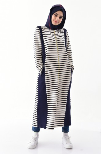 Natural Fabric Striped Cape 1106-01 Light Beige Navy Blue 1106-01