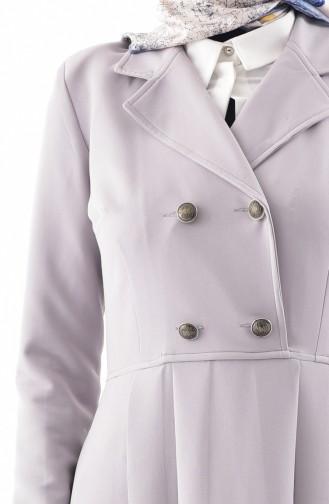Robe Plissée à Col Croisé 7232-05 Gris 7232-05