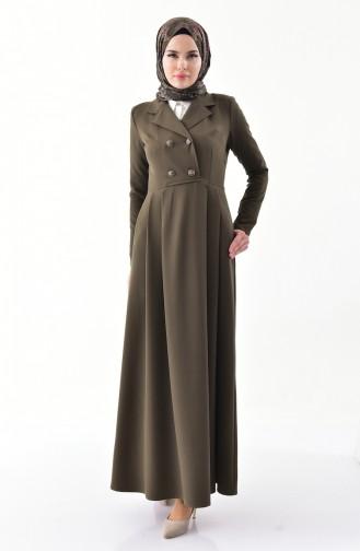 فستان بتصميم ياقة مزدوجة و طيات7232-06 لون أخضر كاكي 7232-06