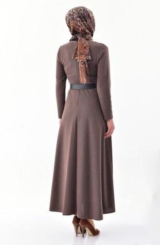 ريتا فستان بتصميم حزام للخصر 60722-01 لون بني 60722-01