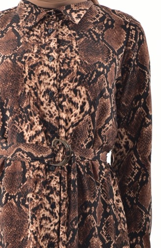 RITA Leopard Patterned Belted Dress 60723-01 Brown 60723-01