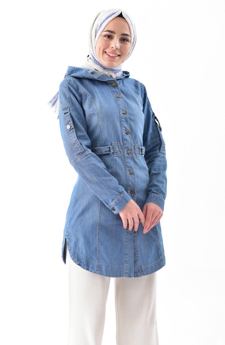 Veste Jean Capuche 6035 A Bleu 01 QtrCshd