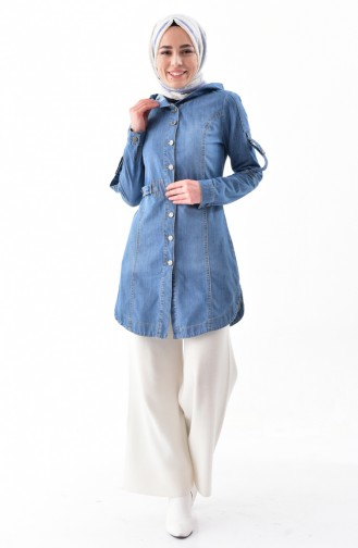Hooded Jeans Jacket 6035-01 Blue Jeans 6035-01