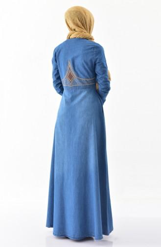 İşlemeli Kot Ferace 8886-01 Kot Mavi