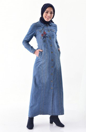 Embroidered Jeans Overcoat 9259-01 Jeans Blue 9259-01